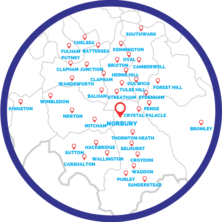 Norbury's boutique estate agency - area map of South London showing our reach