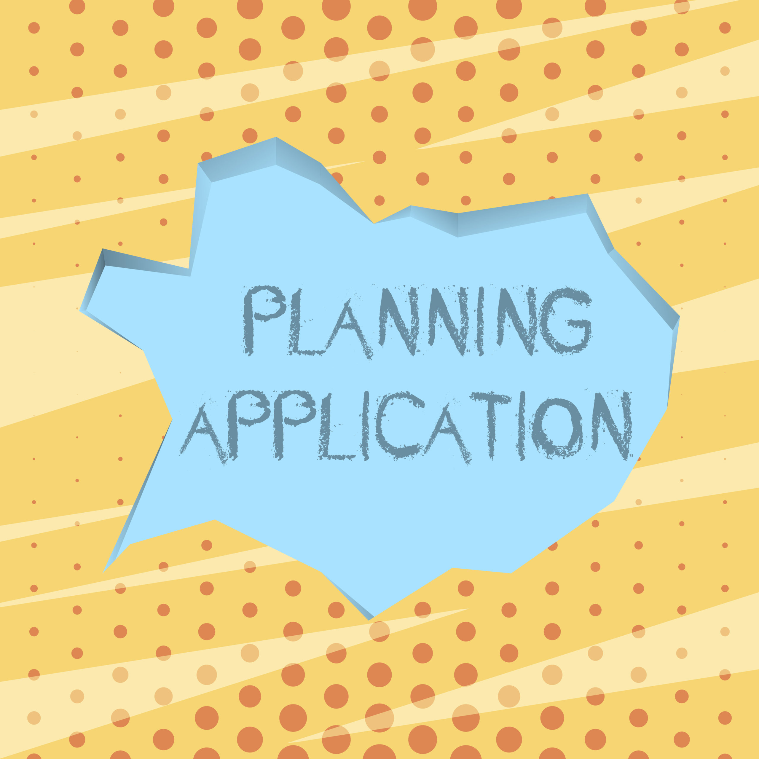 Handwriting text writing Planning Application. Concept meaning request to a local authority for permission to build Blank Pale Blue Speech Bubble in Irregular Cut Edge Shape 3D Style Backdrop.